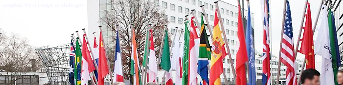 File Photo of Country Flags Outside 2017 G20 Meeting in Hamburg, adapted from image at state.gov