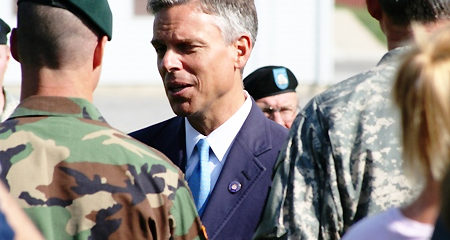 File Photo of John Huntsman, Men in Military Uniforms and Others, adapted from image at army.mil