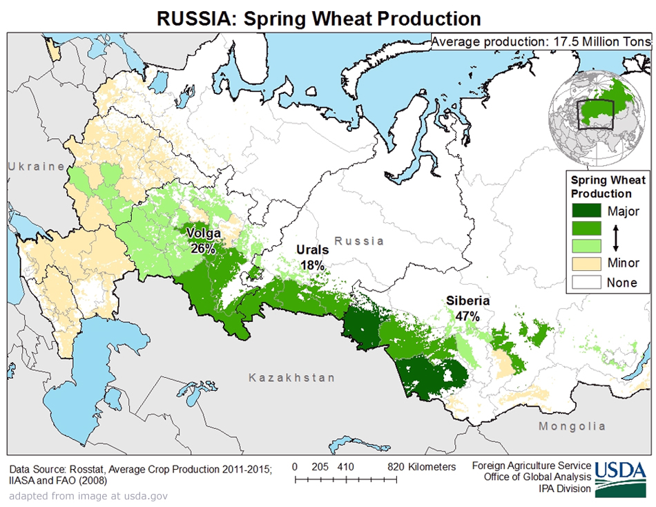 SovietEra Grain Record Seen Tumbling On Bumper Russian Crop - Us wheat production map