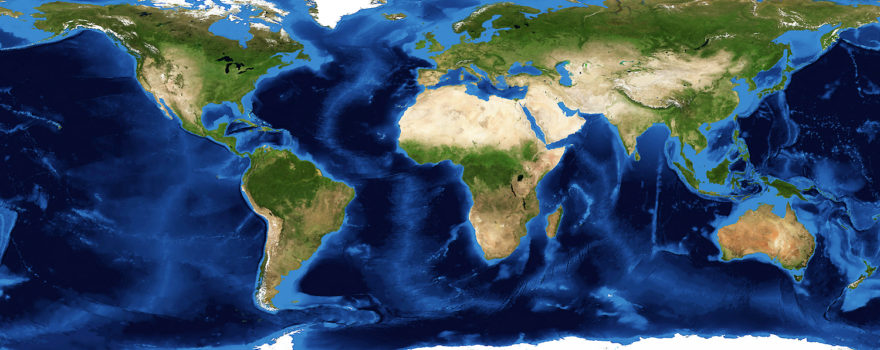 Satellite Image of Earth in Style of Mercator Map, adapted from image at nasa.gov