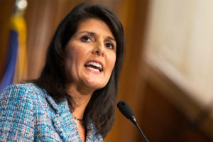 Nikki Haley file photo, adapted from image at usembassy.gov
