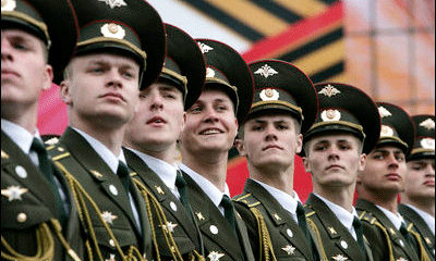 File Photo of Close-Up of Line of Russian Soldiers in Dress Uniforms for Parade, adapted from image at georgewbush-whitehouse.archives.gov with credit to Eric Draper