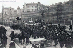 U.S. Troops Marching on Vladivostok Street ca. 1918, Followed by Other Allied Troops, adapted from image at almc.army.mil