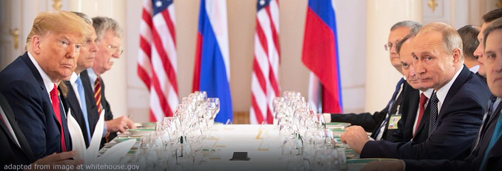 File Photo of Donald Trump, Vladimir Putin and Others at Table at Helsinki Summit, adapted from image at whitehouse.gov, adapted by Steven C. Welsh, www.stevencwelsh.info and www.stevencwelsh.com