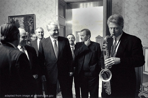 File Photo of Boris Yeltsin, Bill Clinton Playing a Saxophone, Lloyd Bentsen and others, adapted from image at whitehouse.gov