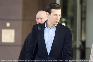 File Photo of Jared Kushner adapted from image at defense.gov with photo credit to Navy Petty Officer 2nd Class Dominique A. Pineiro, adapted by Steven C. Welsh www.stevencwelsh.info :: www.stevencwelsh.com
