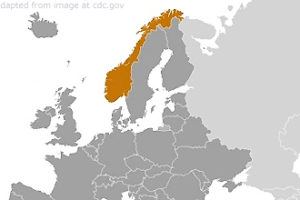 Map of Norway and Region, with Norway Highlighted, adapted from image at cdc.gov