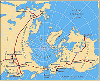 Polar Map of Major Rail Lines in Russia, Canada and United States, With Hypothetical Additional Route Drawn In Connecting Them Across Bering Strait