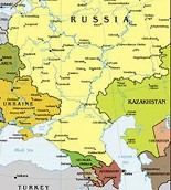 Map of Russia and European Region of Former Soviet Union or Commonwealth of Independent States