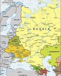 Map of European Portion of Former Soviet Union