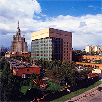 Artist's Rendition of U.S. Embassy, Moscow, with the Russian Foreign Ministry in the Background