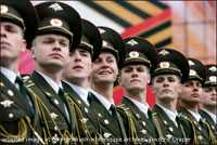 File Photo of Close-Up of Line of Russian Soldiers in Dress Uniforms for Parade