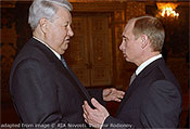 File Photo of Boris Yeltsin and Vladimir Putin