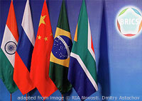 File Photo of Flags of BRICS Nations and BRICS Logo from Past Summit