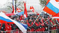 Nashi Demonstration with Red Coats and Russian Flags file photo