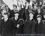 Beatles file photo, black and white, in ties and coats waving; adapted from image at dol.gov