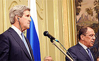 File Photo of John Kerry and Sergei Lavrov at Separte Podiums, Kerry with a Visible Earpiece; Adapted from Photo at state.gov