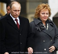 Vladimir Putin and Lydumila Putin file photo