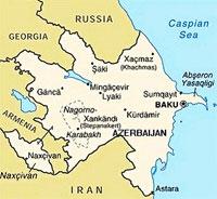 Map of Azerbaijan and South Caucasus Environs Including Portions of Armenia, Georgia, Russia, Iran, Caspian Sea