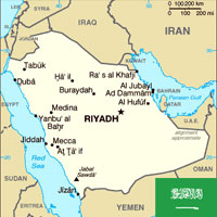 Saudia Arabia Map and Flag