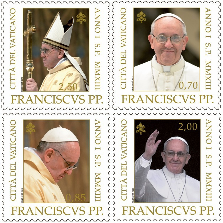 Pope Francis Portraits on Four Vatican Stamps
