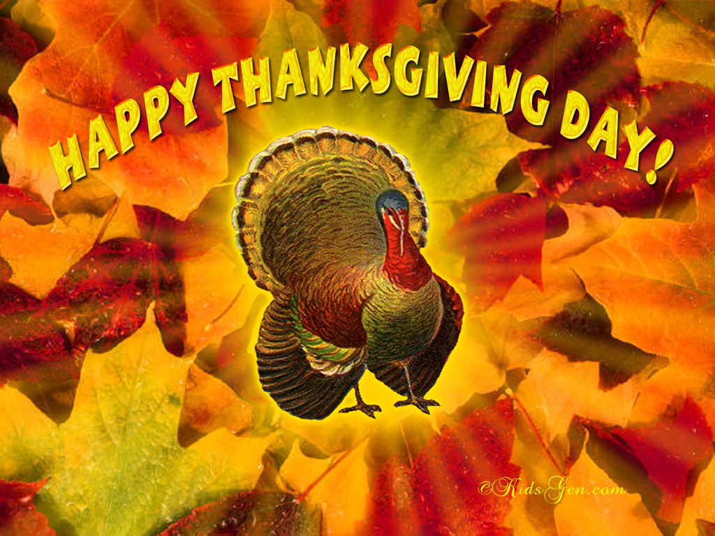 Happy Thanksgiving Day, Artist's Rendition of Turkey, Autumn Leaves
