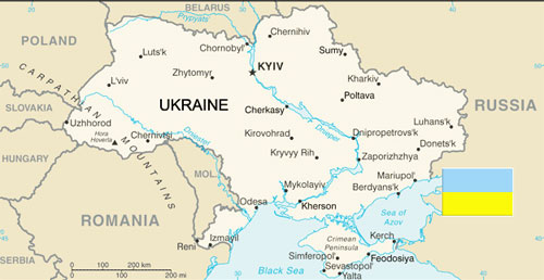 Map of Ukraine and Environs and Ukrainian Flags