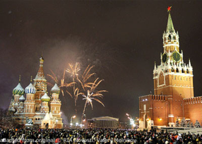 New Year's Eve on Red Square with Fireworks, Kremlin, Saint Basil's, Crowds