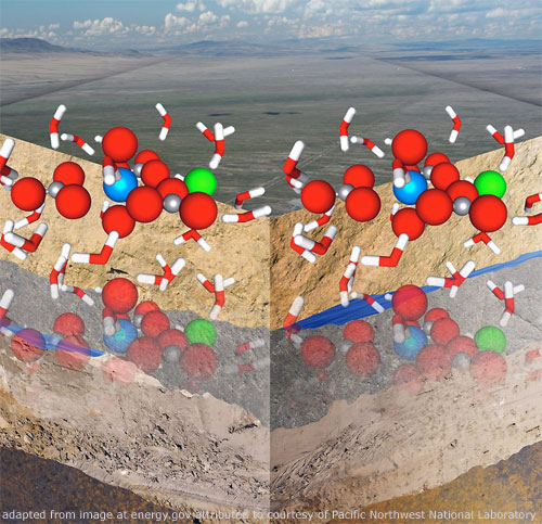 File Image of Artist's Rendition of Uranium Molecules and Soil against Background Vista, adapted from image energy.gov image attributed courtesy of Pacific Northwest National Laboratory
