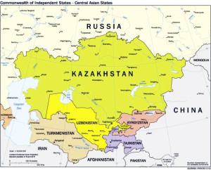 Map of CIS Central Asia and Environs