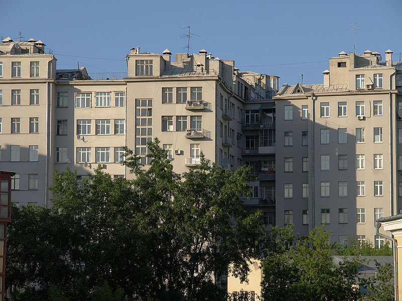 Back side of House on Embankment (central part), view from Patriarshy Bridge pedestrian walkway, from Wikimedia Commons, user NVO, http://commons.wikimedia.org/wiki/File:Moscow,_House_on_Embankment_back_side.jpg