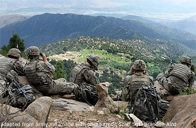 File Photo of U.S. NATO Troops Atop Ridge in Afghanistan