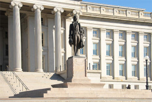 Portion of U.S. Treasury Department Building Facade, North Side, with Sculpture of Alexander Hamilton