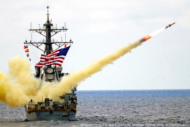 File Photo of U.S. Navy Guided Missile Destroyer USS Donald Cook Firing Harpoon Missile