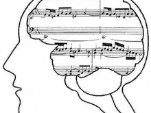 Sheet Music in the Midst of Artist's Outline of Human Head and Brain