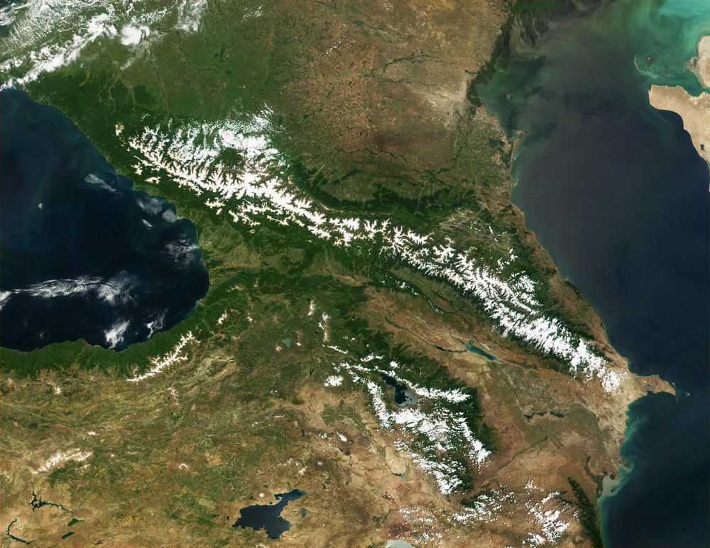 Caucasus Mountains Satellite Image