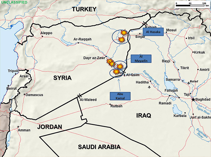 Map of Area Spanning Portions of Iraq, Syria, Jordan, Saudi Arabia, highlighting military engagements against ISIL