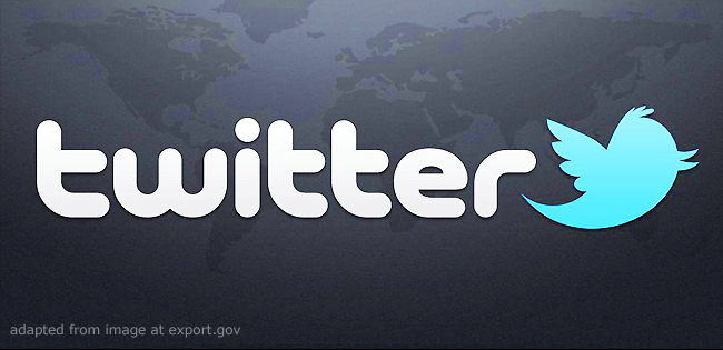 Twitter Logo and Faint World Map