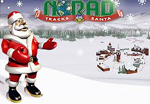 Artist Rendition of Santa Claus on Hill with Snow and Village in Distance, with Caption NORAD Tracks Santa