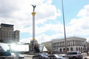 Column in Maidan Square in Kiev, Ukraine