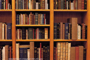 Bookcase file photo, adapted from image at nlm.nih.gov