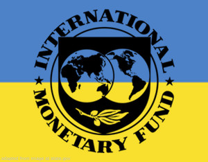 International Monetary Fund Logo Over Ukraine Flag