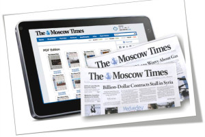 Moscow Times Sample Covers and Mobile Device Display