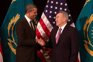 File Photo of Nursultan Nazarbayev and Barack Obama with Flags
