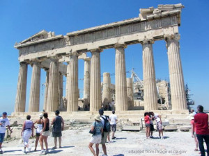 Ancient Temple Ruins in Greece with Tourists