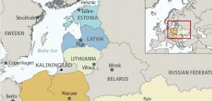 Map of Baltics and Environs, Including Kaliningrad