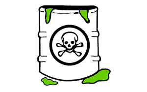 Artist Rendition of Barrel with Poison Symbol on It, Oozing Green Material