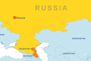 Map of Russia Highlighting Dagestan
