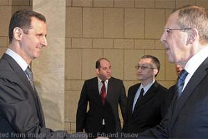 File Photo of Bashar al-Assad and Sergei Lavrov