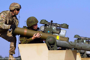 File Photo of U.S. Soldier Training Lithuanian Soldier with TOW Anti-Tank Missile